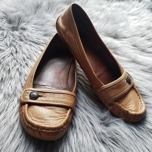 Frye tan Laney loafers with button